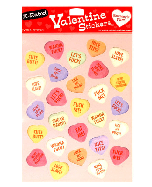 4 X-Rated Valentine Sticker Sheets- 27 Stickers Per Sheet - XSexStore