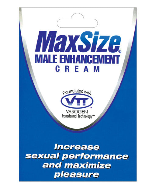 Max Size Male Enhancement Cream- Individual Foil Packet - XSexStore