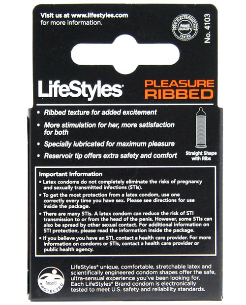 Lifestyles Ultra Ribbed- Box Of 3 - XSexStore