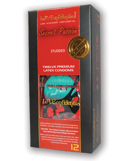 L.A. Confidential Secret Passion Studded Condoms - Pack Of 12 - XSexStore