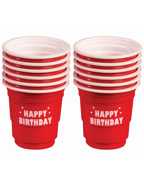 Happy Birthday Plastic Shot Glasses- Red Set Of 12 - XSexStore