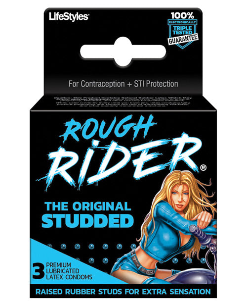 Contempo Rough Rider Studded Condom- Pack Of 3 - XSexStore