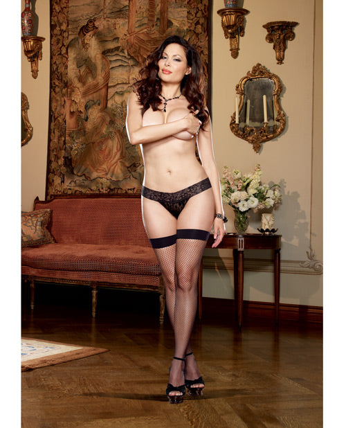 Plain Top Fishnet Thigh High with Back Seam & Bow Trim. Plus Size Available - XSexStore