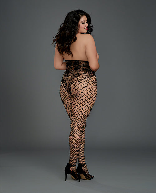 Open Cup Open Crotch Bodystocking with Knitted Lace Teddy Design. Plus Size - XSexStore