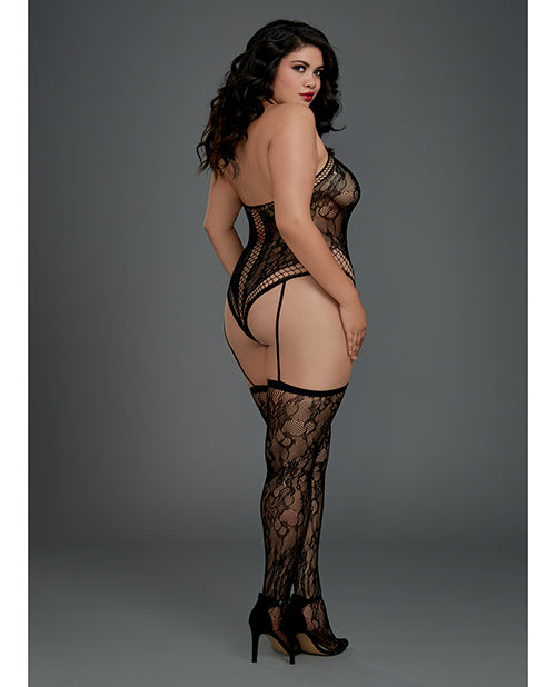 Lace Halter Neckline Teddy Bodystocking with Attached Garters & Thigh Highs. Plus Size Available - XSexStore
