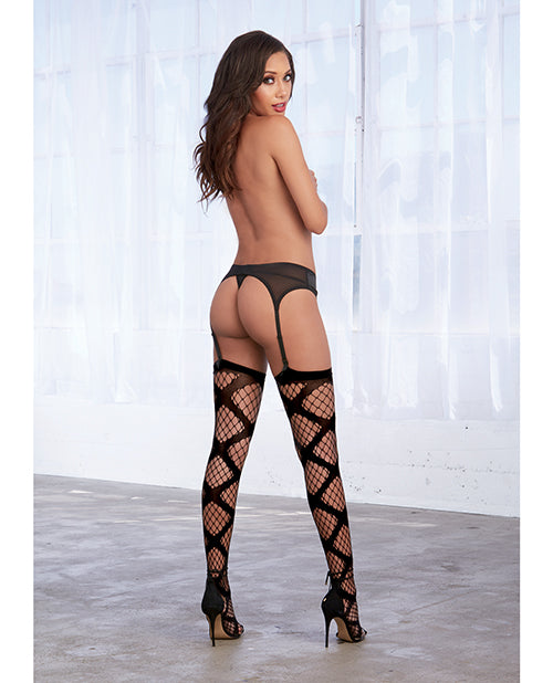 Criss Cross Diamond Net Thigh High Stockings - XSexStore