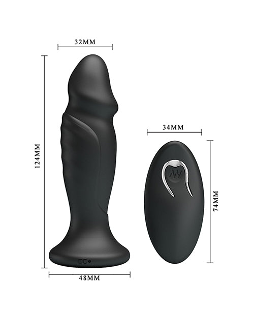 Mr. Play Phallic Vibrating Anal Plug - Black - XSexStore