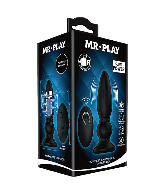 Mr. Play Vibrating Anal Plug w- Wireless Remote - Black - XSexStore