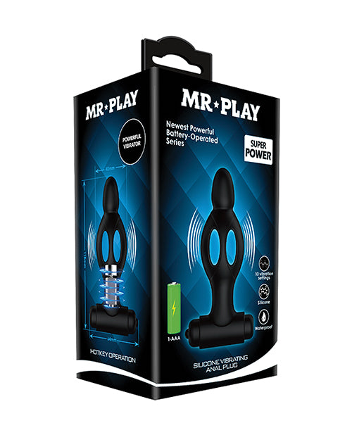 Mr. Play Vibrating Collapsible Anal Plug - Black - XSexStore