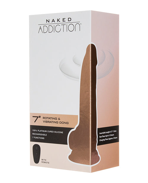"Naked Addiction 7"" Rotating & Vibrating Dong w- Remote - XSexStore"
