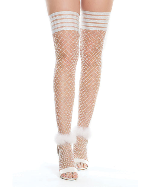 Seamless Stretch Nylon Stay Up Stocking White-Silver O-S - XSexStore