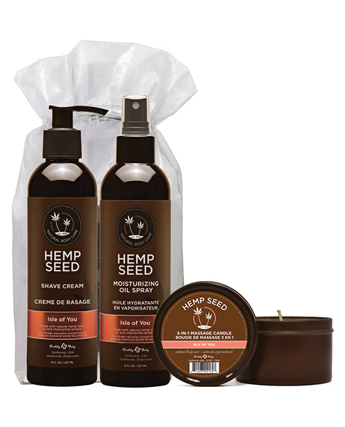 Earthly Body Summer Care Moisturizing Kit- Isle Of You Candle, Oil Spray & Shave Cream - XSexStore