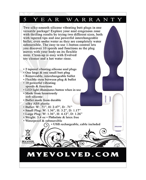 Evolved Dynamic Duo- Rechargeable Vibrating Anal Plug - XSexStore