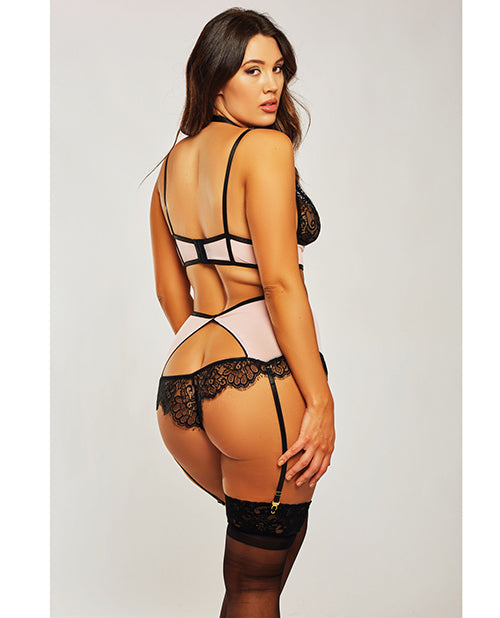 Estrella Lace & Stretch Sateen Bra & Garter Set. Plus Size Available - XSexStore