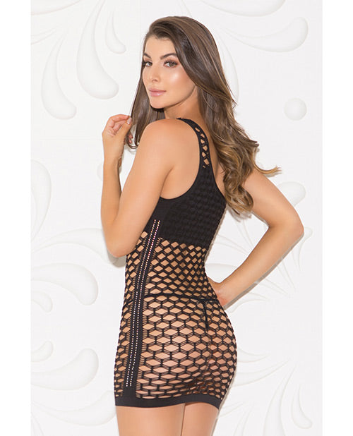 One Shoulder Solid & Diamond Patterned Seamless Dress - XSexStore