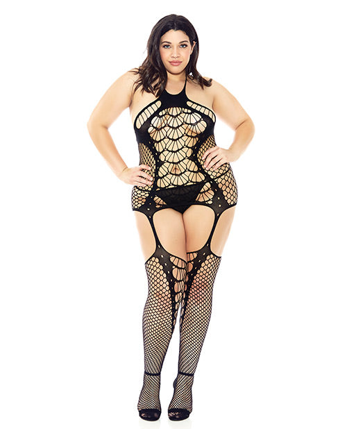 Halter Spider Web Fishnet Bodystocking- Plus Size - XSexStore