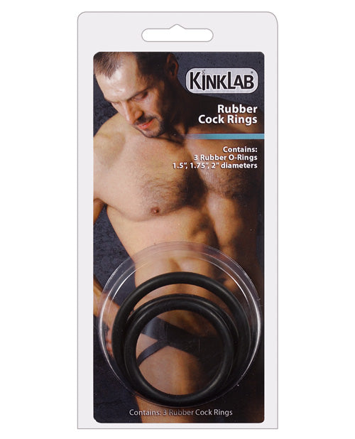 KinkLab Rubber Cock Rings- Pack Of 3 - XSexStore