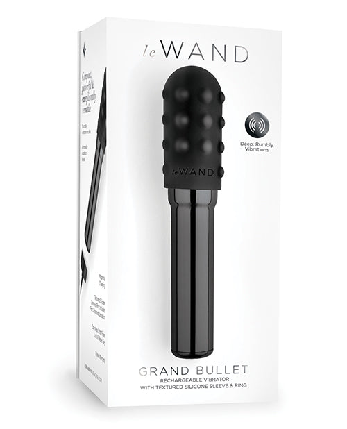 Le Wand Grand Chrome Bullet Rechargeable Vibrator with Silicone Textured Ring - XSexStore