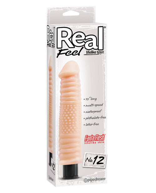 "Real Feel No. 12  Long 10"" Vibe Waterproof - Mutli-speed Flesh - XSexStore"