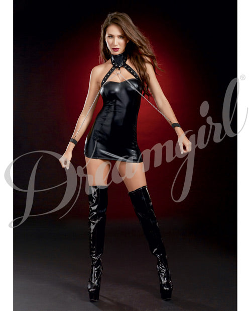 Fetish Chemise with Studded Collar & Chained Wrist-Cuffs - XSexStore