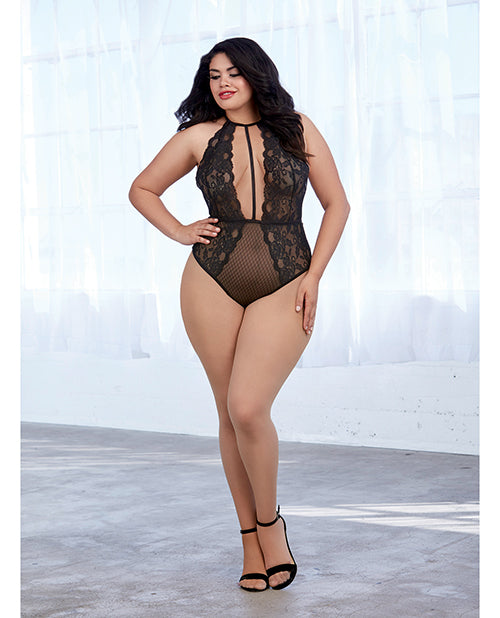 Stretch Lace and Patterned Mesh Teddy. Plus Size Available - XSexStore