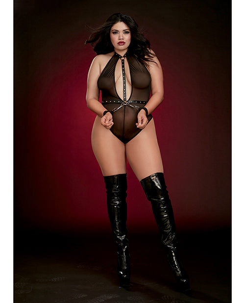 Fetish Stretch Mesh Thong Back Teddy with Clasped Wrist Restraints. Plus Size Available - XSexStore