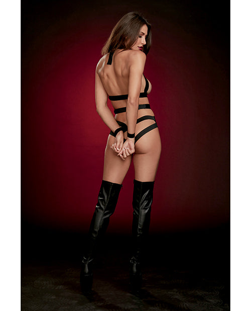 Fetish Strappy Faux Leather Teddy w/ Attached Wrist Restraints - XSexStore
