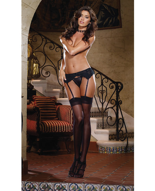 Stretch Lace Garter Belt with Scalloped Hem - XSexStore