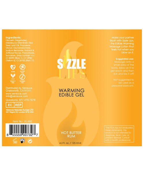 Sizzle Lips Warming Gel Bottle - 4.2 oz Bottle - XSexStore