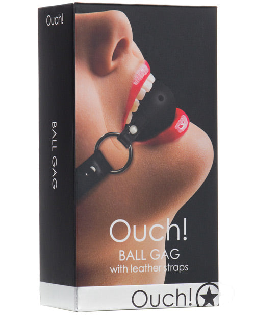 Shots Ouch Ball Gag w- Leather Straps - Black - XSexStore
