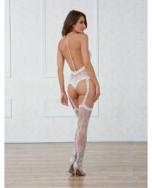 Lace Teddy Bodystocking with Pearl Back & Thigh High Stockings - XSexStore