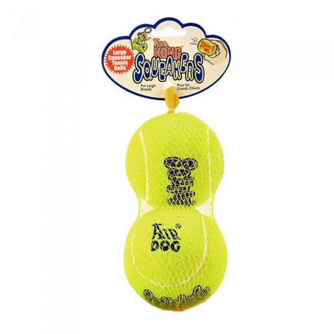Front - KONG Air Squeaker Large Tennis Ball Dog Toys (Pack Of 2)
