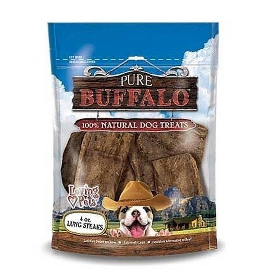 May Vary - Front - Loving Pets Pure Buffalo Lung Steak Dog Treats