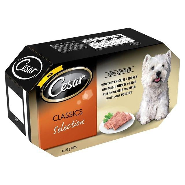 Front - Cesar Tray Classic Selection Dog Food (4 x 4 Pack x 150g)