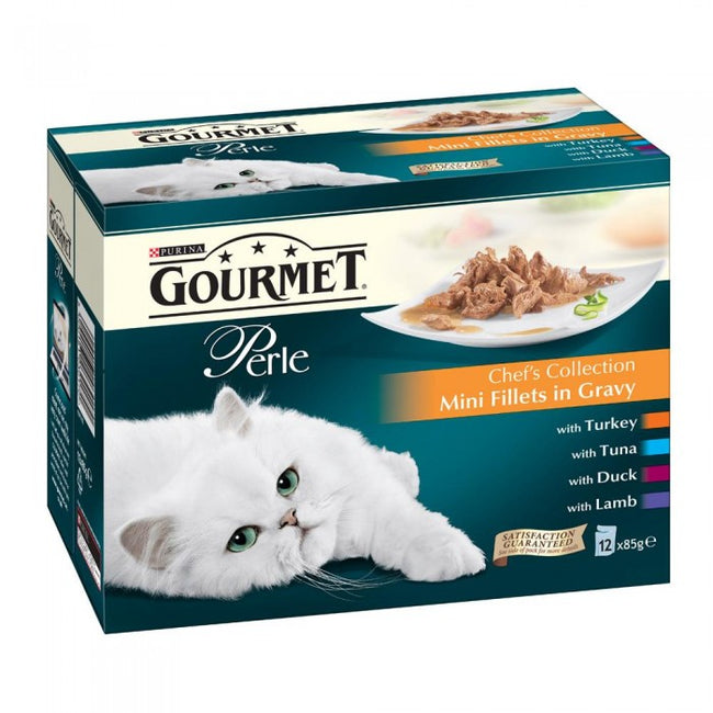 Front - Gourmet Perle Chef Collection Complete Wet Cat Food (4 x 12 Pouches)