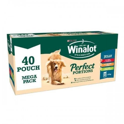 Front - Winalot Perfect Portions Chunks In Jelly Dog Food Pouches (Pack Of 40)