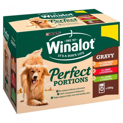 Front - Winalot Perfect Portions Chunks In Gravy Dog Food Pouches (Pack Of 12)