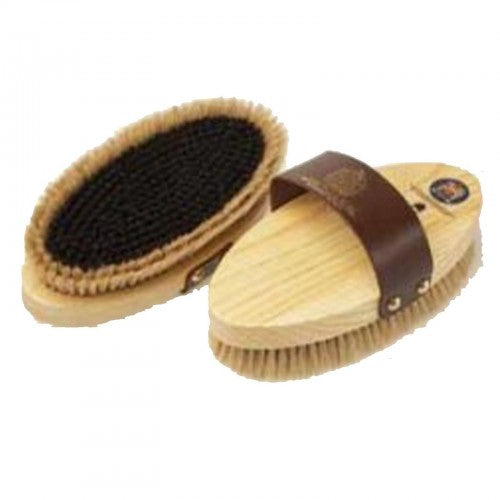 Front - Equerry Leather Handle Wooden Body Brush