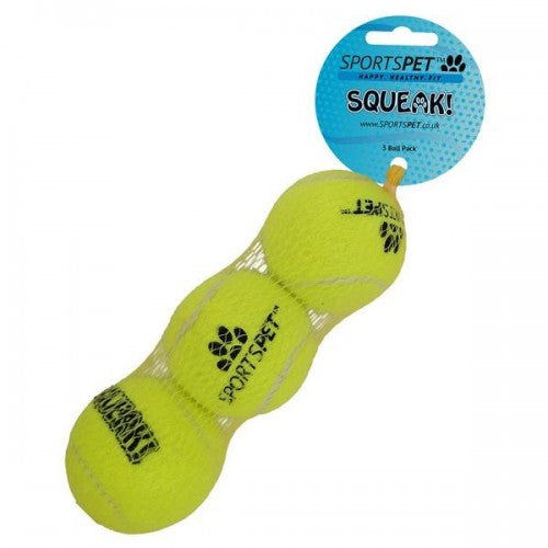 Yellow - Back - Sportspet Tennis Ball With Squeaker (Pack Of 3)