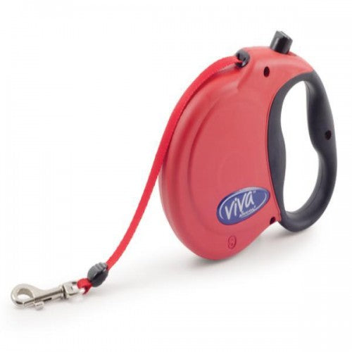 Red - Front - Ancol Viva Retractable Dog Lead