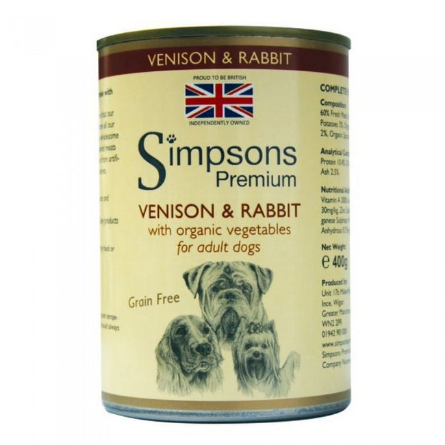 Front - Simpsons Venison & Rabbit Wet Adult Dog Food (Pack Of 6)