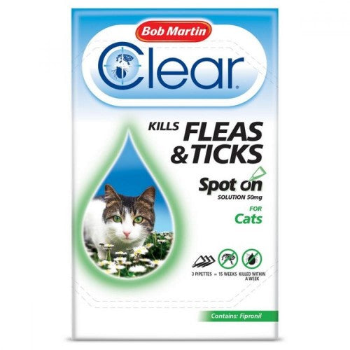 Front - Bob Martin Clear Flea And Tick Spot On Liquid Drops For Cats