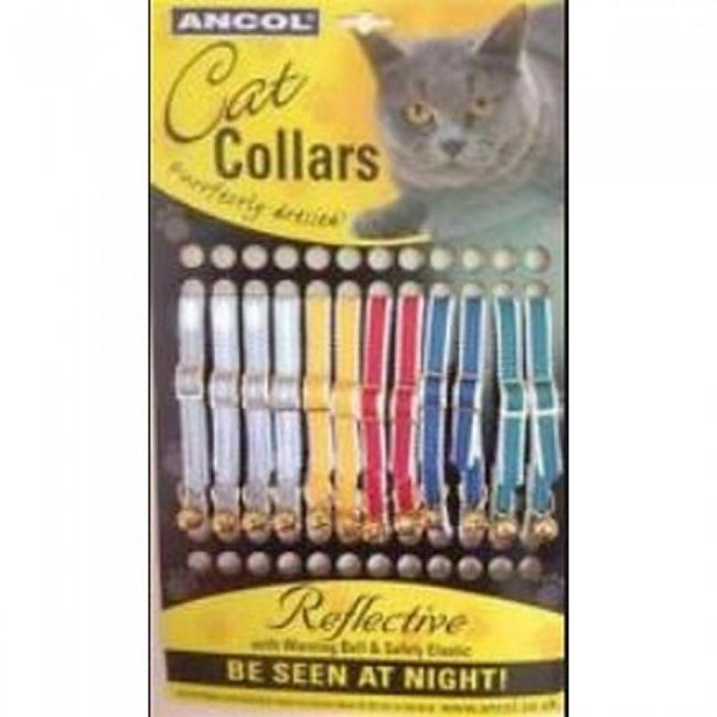 Front - Ancol Reflective Cat Collars (Pack Of 12)