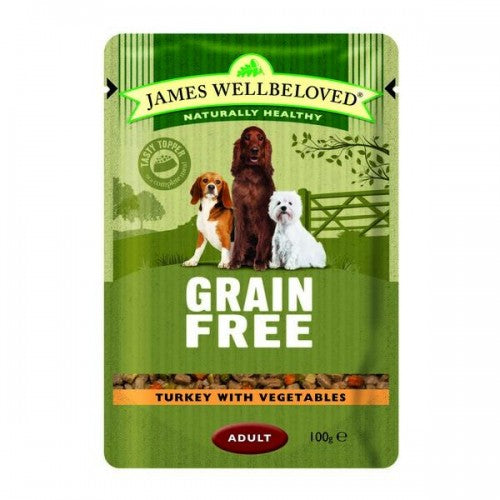 Turkey - Front - James Wellbeloved Grain Free Adult Dog Food Pouches (Pack Of 12)