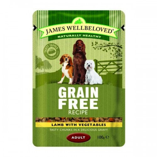 Lamb - Front - James Wellbeloved Grain Free Adult Dog Food Pouches (Pack Of 12)