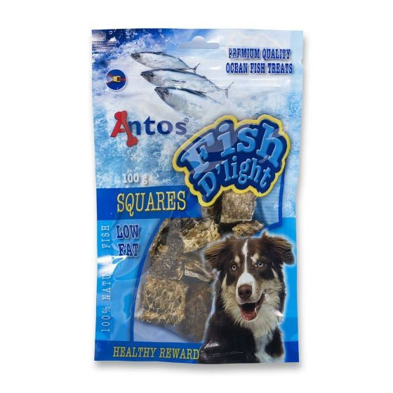 Multicoloured - Front - Antos Fish D`Light Squares Dog Treats (100g)