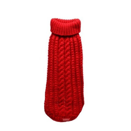 Red - Front - Dogue Maglioncino Cable Knit Dog Jumper
