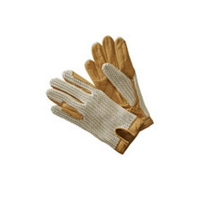 Cream - Front - Harry Hall Adults Unisex Leather Crochet Back Gloves
