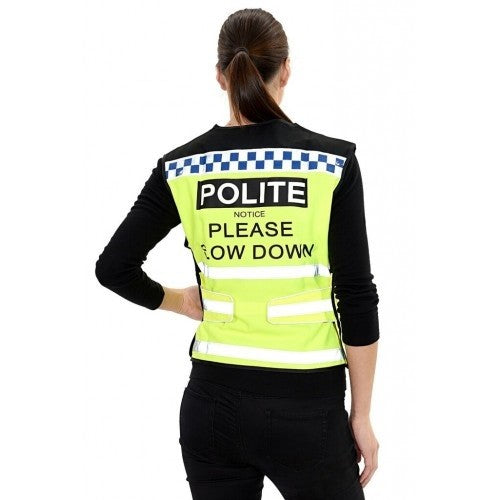 Front - Equisafety Polite Please Slow Down Waistcoat