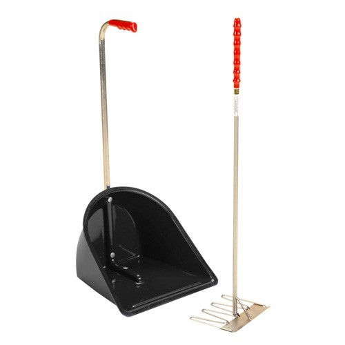 Black - Front - Stubbs Stable Mate Manure Collector High With Rake S4585